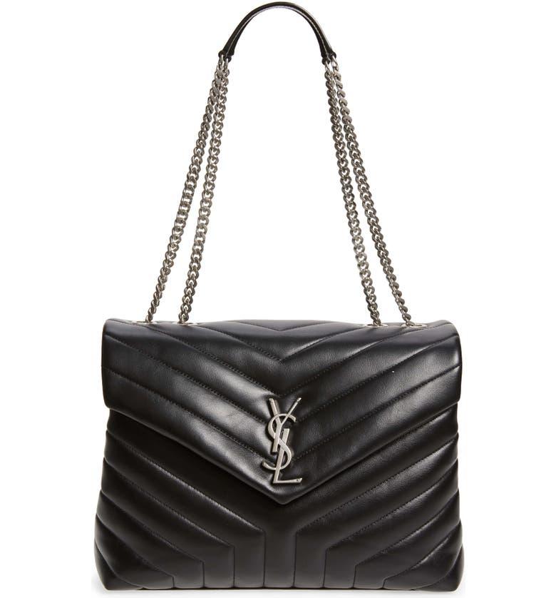 SAINT LAURENT Medium Loulou Matelassé Leather Shoulder Bag, Main, color, NERO/NERO