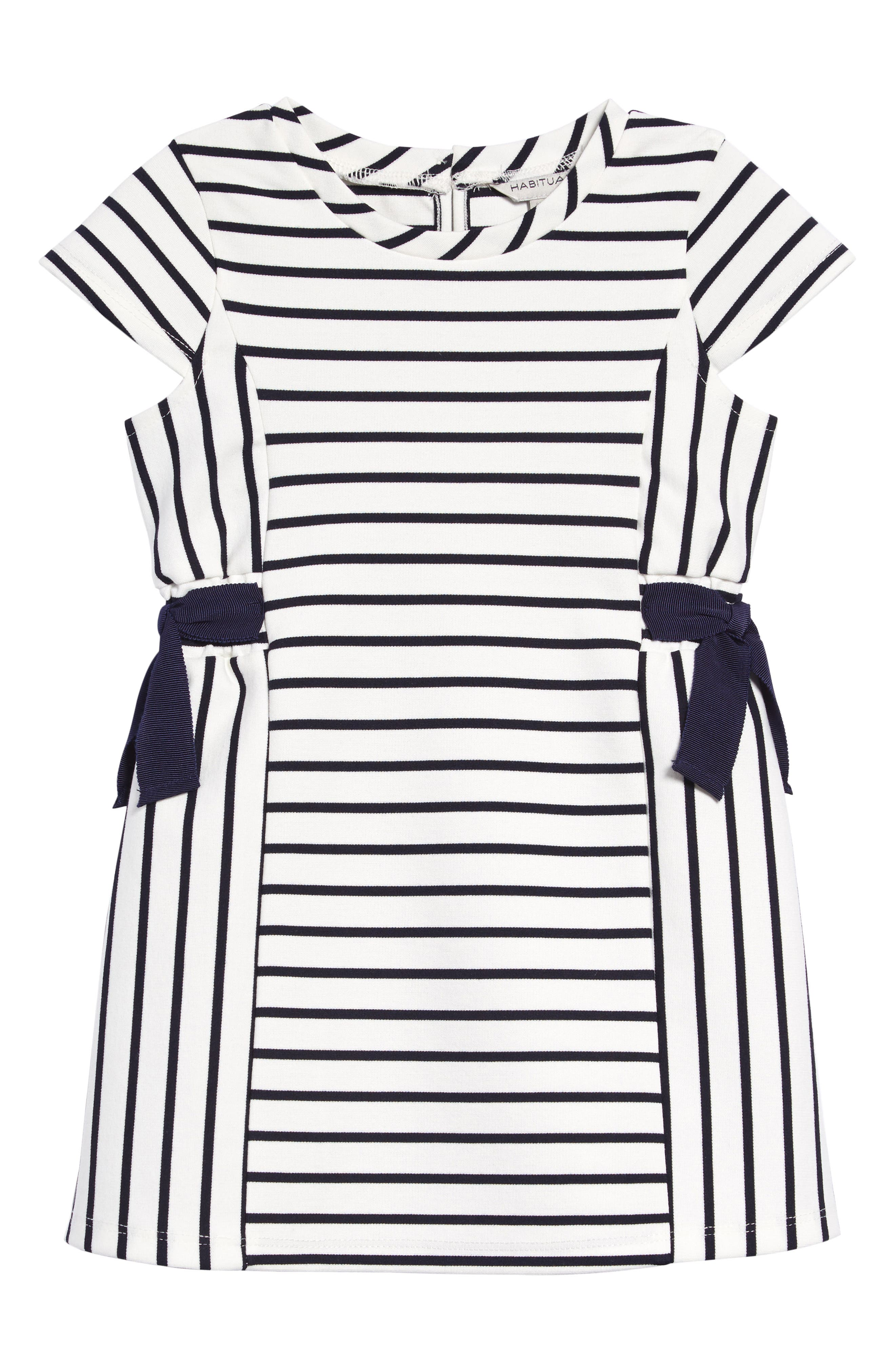 Navy grosgrain bows enhance the classic seaside-inspired style of a cap-sleeve dress patterned with marine-blue stripes. Style Name: Habitual Stripe & Bow Dress (Toddler Girl). Style Number: 5976929. Available in stores.