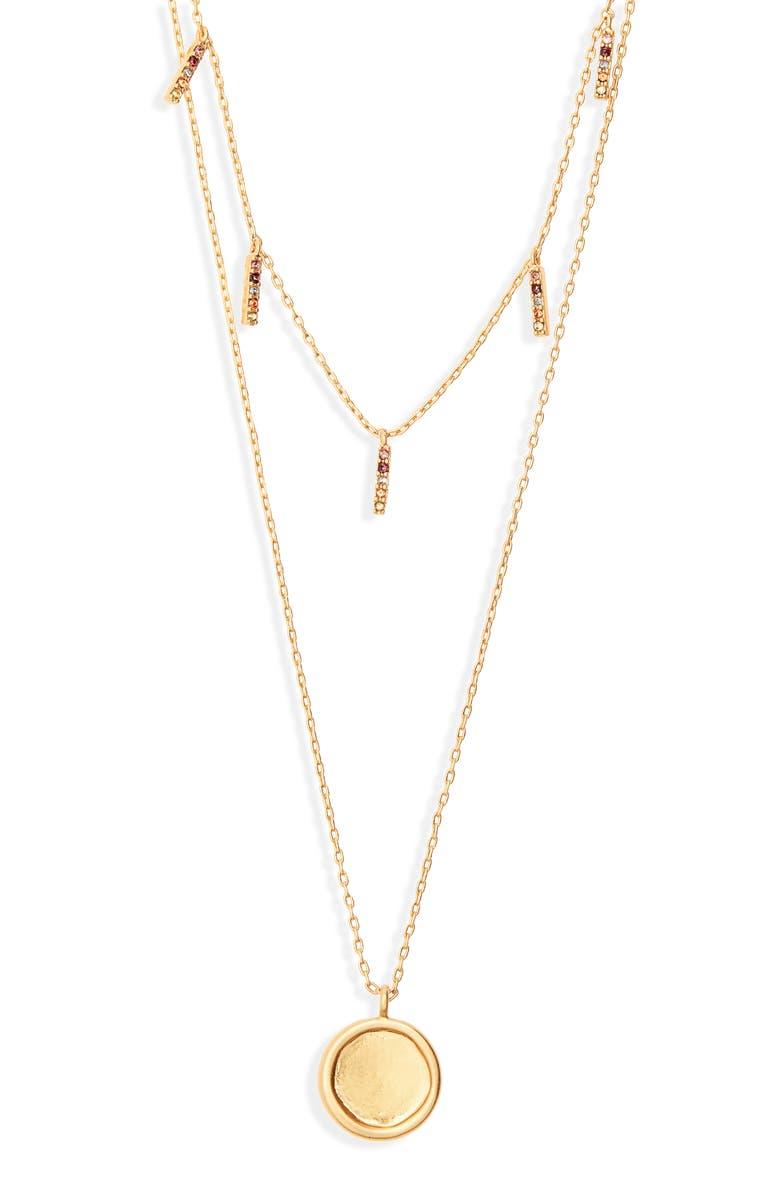 MADEWELL Rainbow Sparkle Fringe Set of 2 Necklaces, Main, color, VINTAGE GOLD
