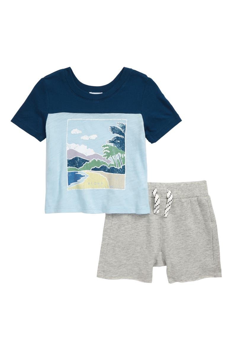 SPLENDID Beach Front Screenprint Shirt & Shorts Set, Main, color, TAHOE BLUE