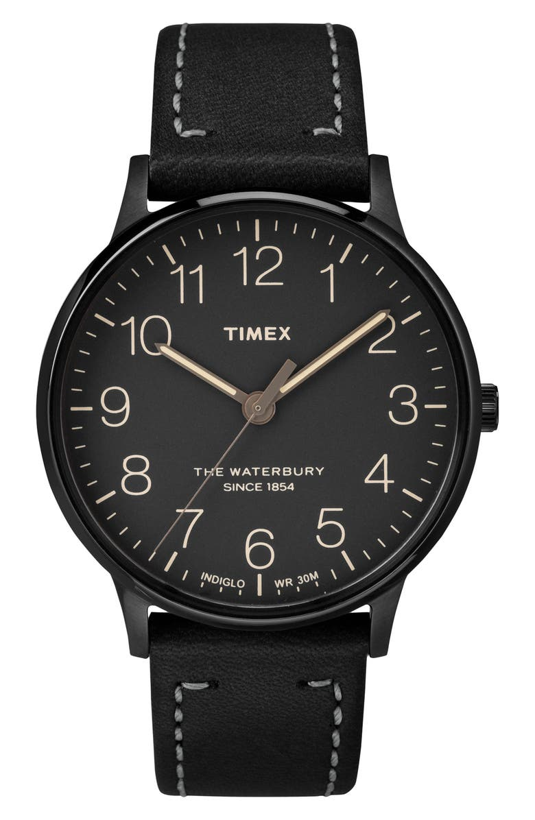 TIMEX<SUP>®</SUP> Waterbury Leather Strap Watch, 40mm, Main, color, 003