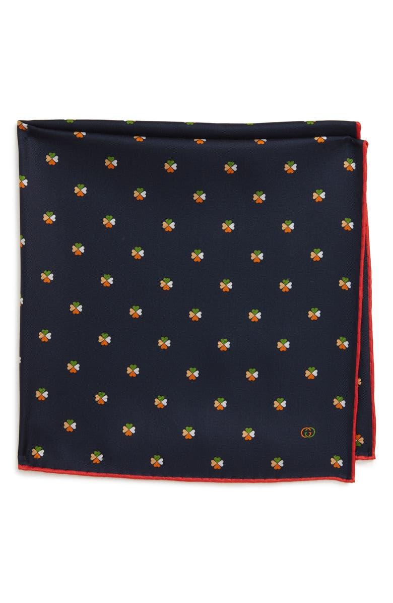 GUCCI Double-G & Hearts Silk Pocket Square, Main, color, 473
