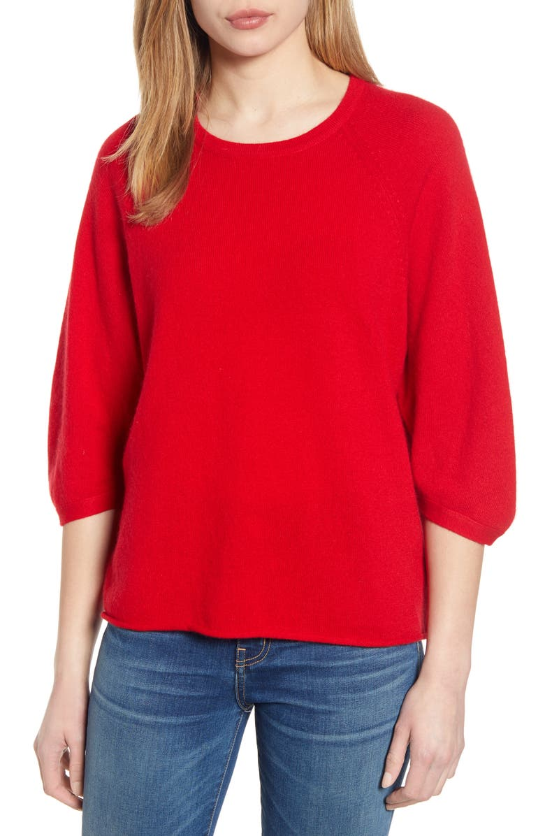 VELVET BY GRAHAM & SPENCER Wool & Cashmere Sweater, Main, color, RUBY