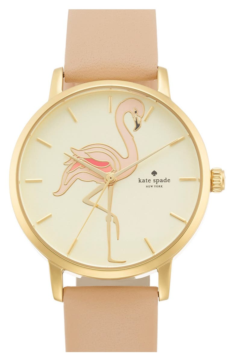 KATE SPADE NEW YORK 'metro' flamingo dial leather strap watch, 34mm, Main, color, 200