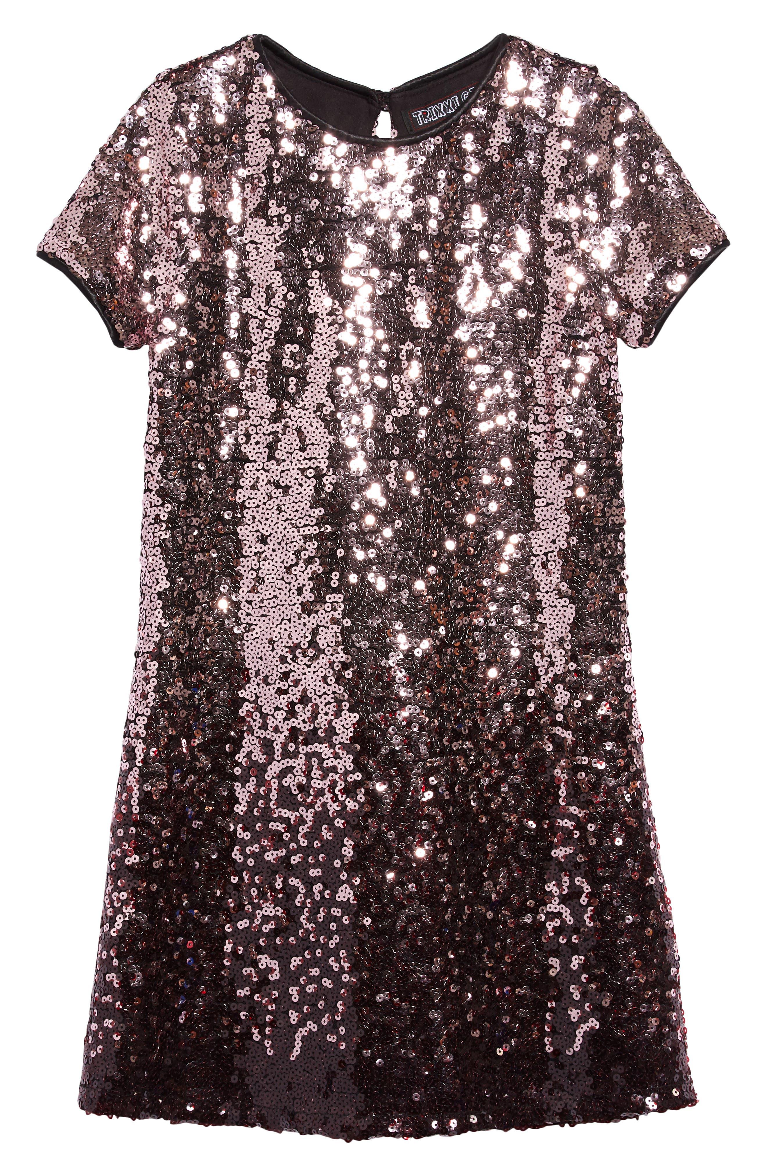 60s 70s Kids Costumes & Clothing Girls & Boys Girls Trixxi Ombre Sequin Shift Dress $58.00 AT vintagedancer.com