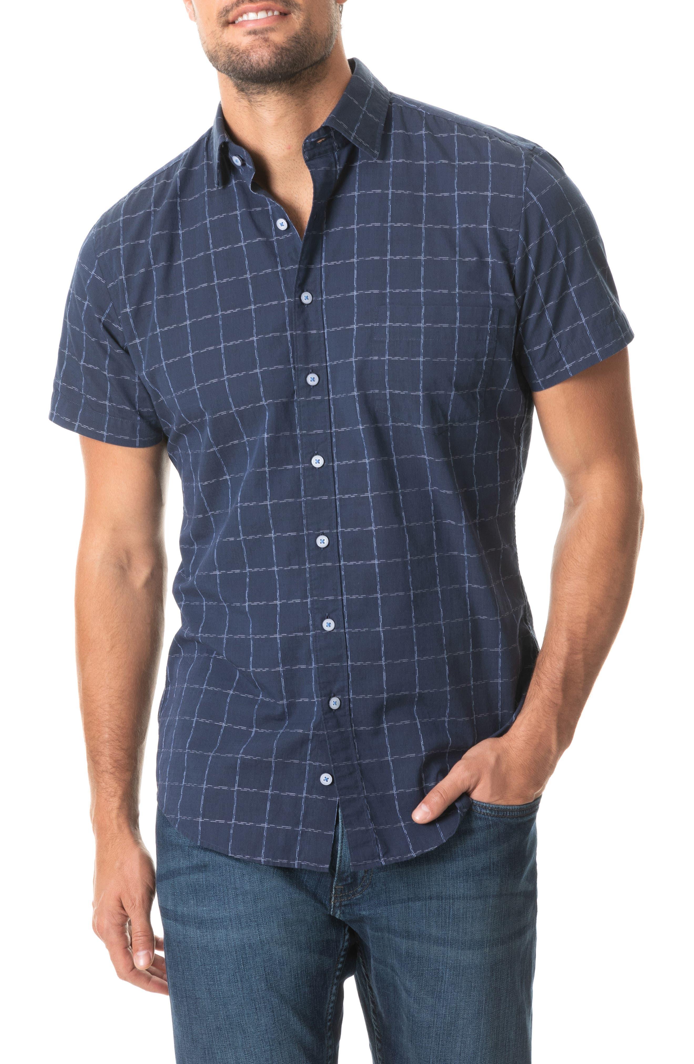 Image of RODD AND GUNN Minden Regular Fit Check Short Sleeve Button-Up Shirt