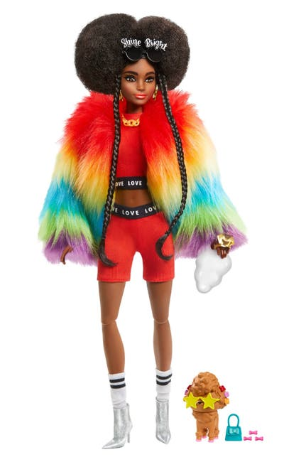 Image of Mattel Barbie®Extra Doll #1 in Rainbow Coat with Pet Poodle