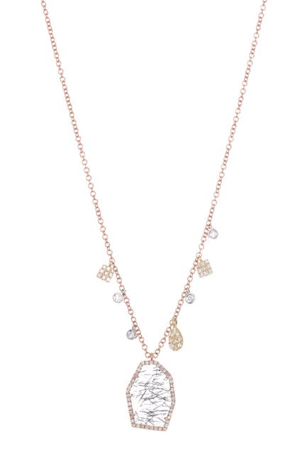 Image of Meira T 14K Rose Gold Rutilated Quartz & Diamond Pendant Necklace