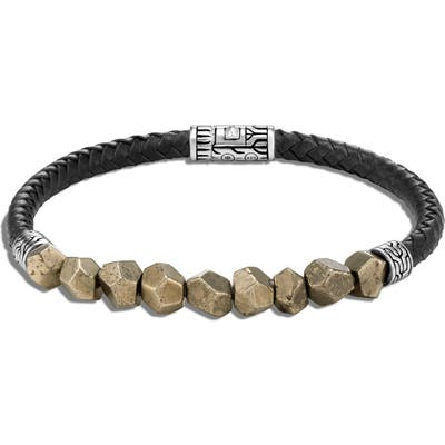John Hardy Classic Chain Rugged Silver Leather Bracelet