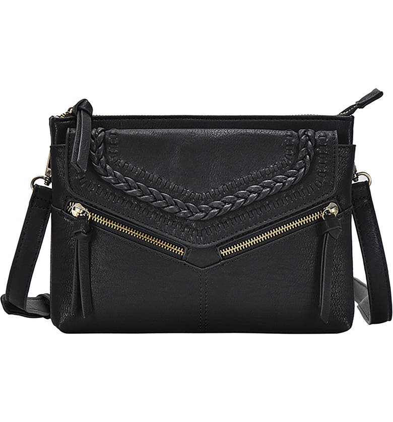 ANTIK KRAFT Braided Faux Leather Crossbody Bag, Main, color, BLACK