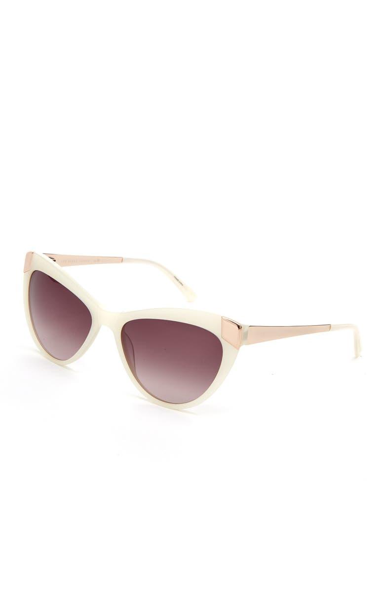 TED BAKER LONDON 54mm Plastic Round Cat Eye Sunglasses, Main, color, BONE