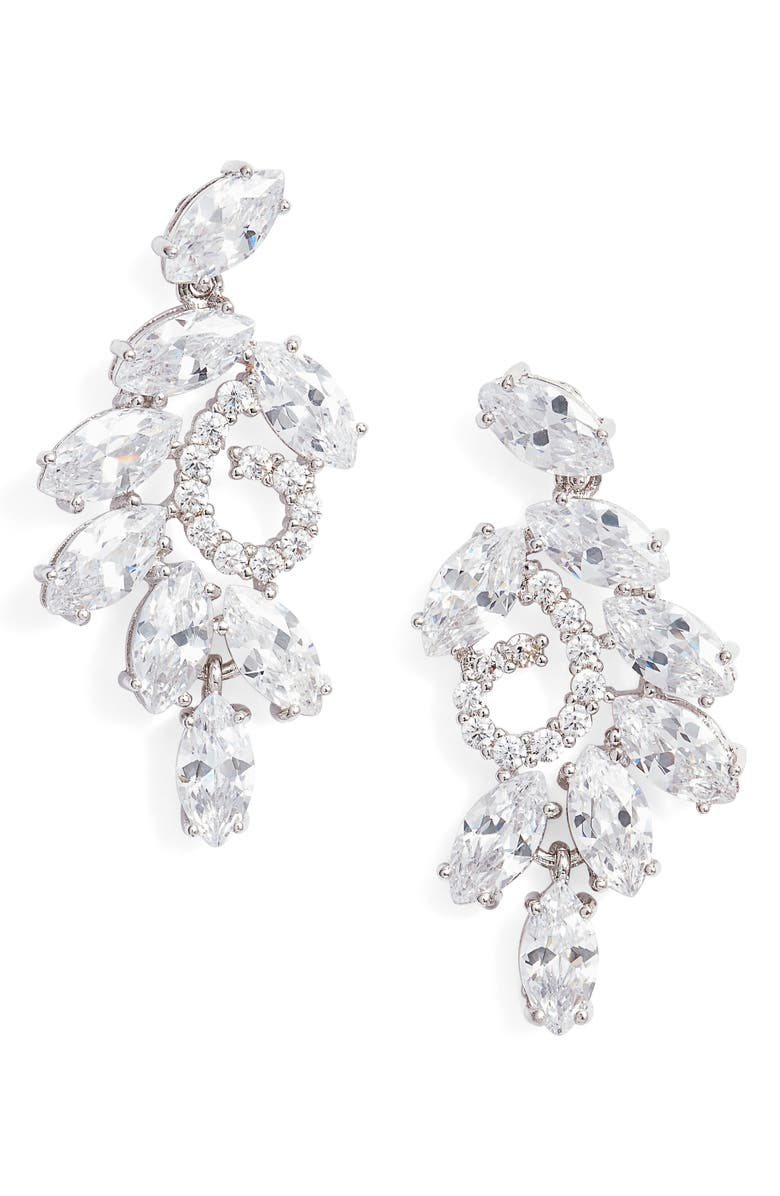 NINA Cluster Branch Stud Earrings, Main, color, SILVER/ WHITE CZ