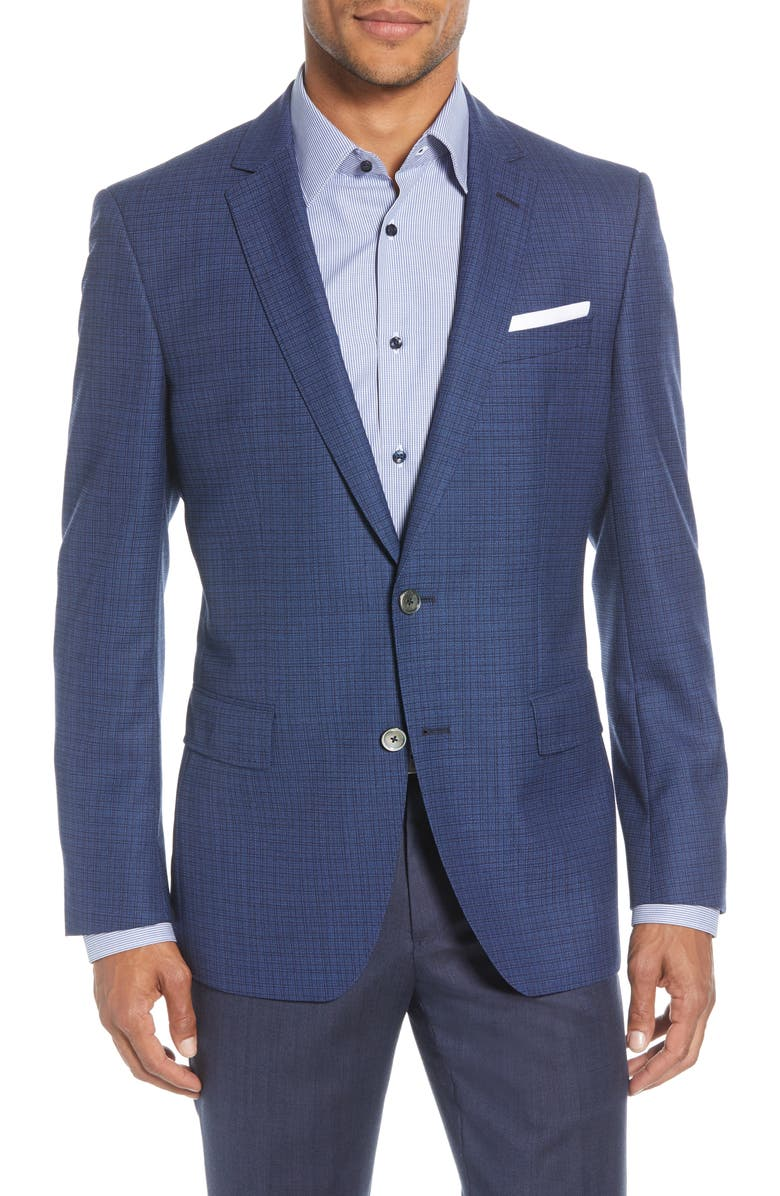 BOSS Hutsons Trim Fit Check Wool Sport Coat, Main, color, BLUE