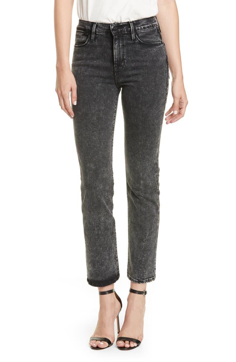 FRAME Le High Straight Raw Edge Jeans, Main, color, ROCKSTAR