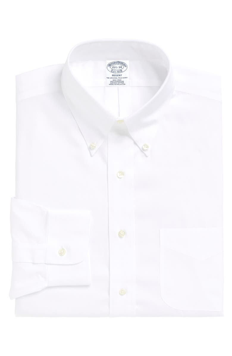 BROOKS BROTHERS Regent Regular Fit Solid Dress Shirt, Main, color, 100