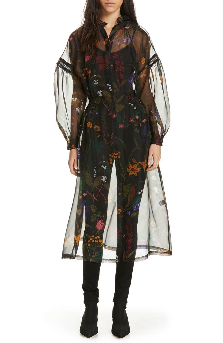 RODEBJER Nanna Floral Print Silk Organza Dress, Main, color, 001