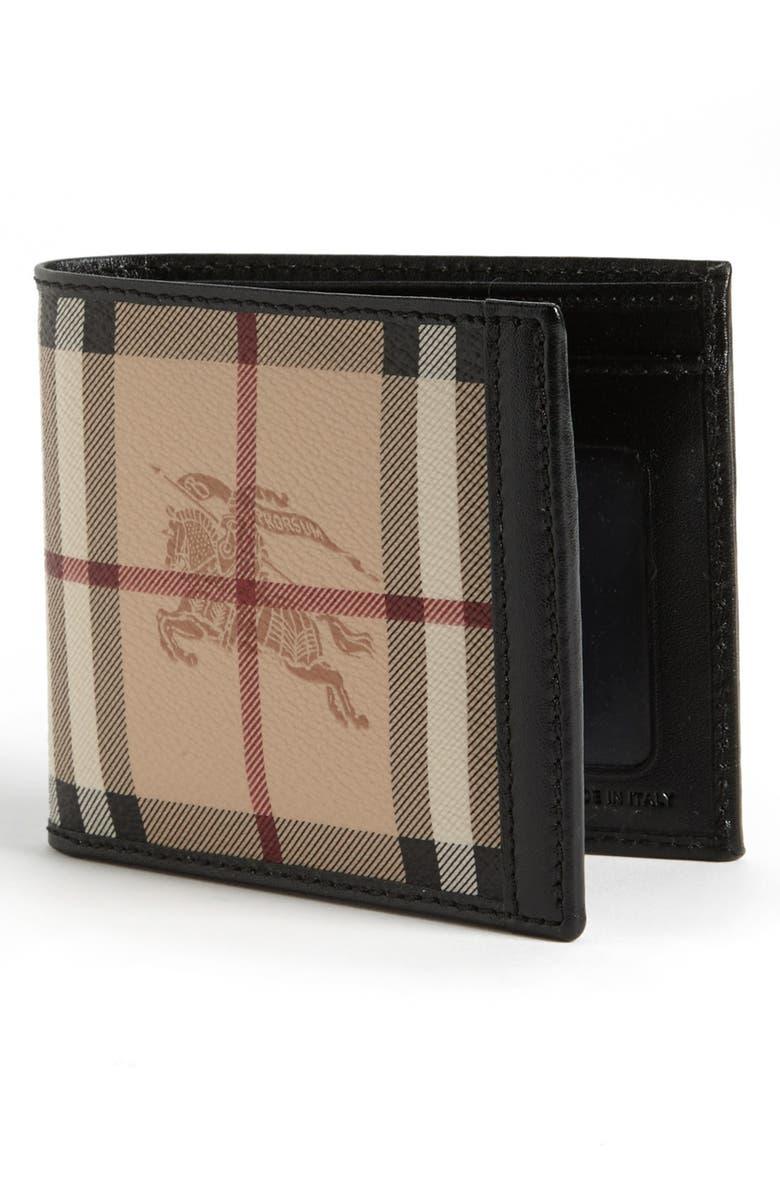 BURBERRY Logo & Checks Billfold Wallet, Main, color, 251
