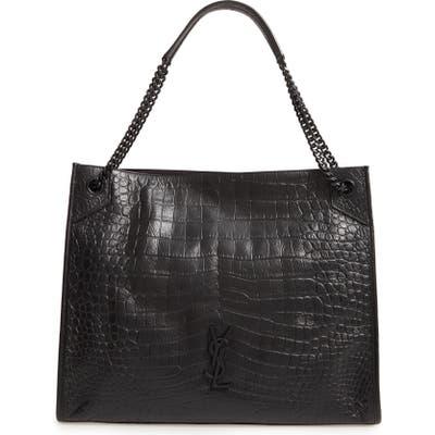 Saint Laurent Large Niki Croc Embossed Calfskin Leather Shopper - Black