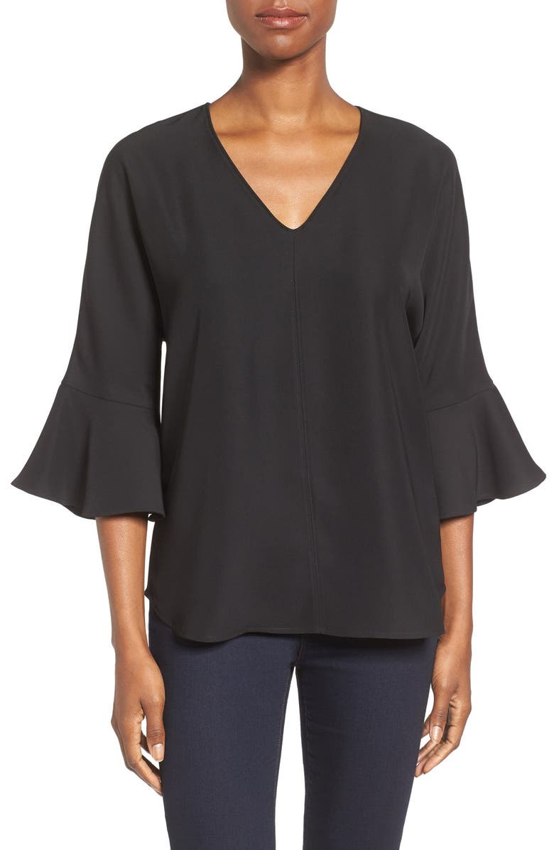 PLEIONE Bell Sleeve V-Neck Top, Main, color, 001