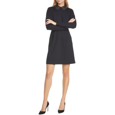 Ted Baker London Calliea Applique Long Sleeve Skater Dress, (fits like 8-10 US) - Black