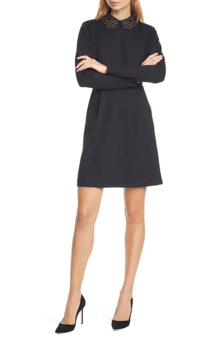 TED BAKER LONDON Calliea Appliqué Long Sleeve Skater Dress, Main, color, 001