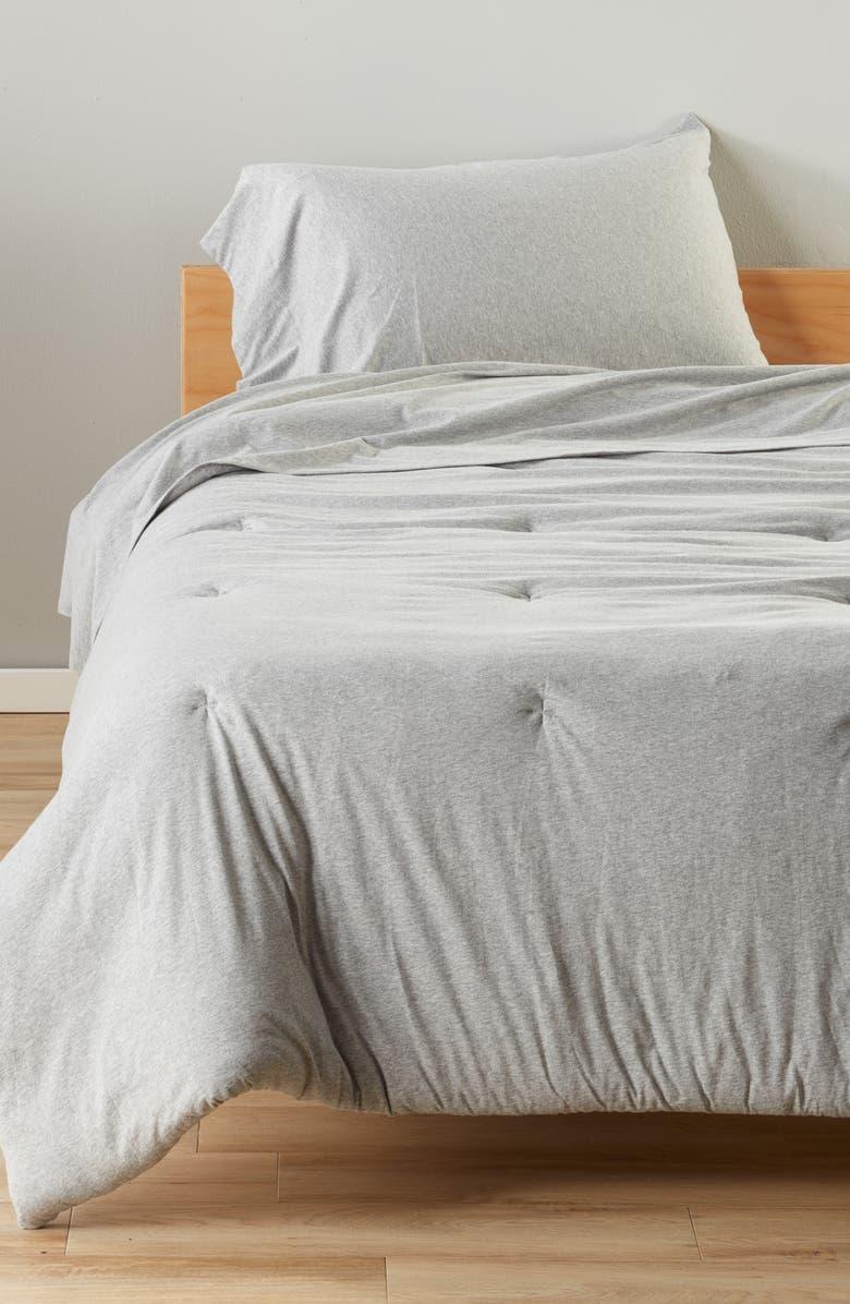 BP. Solid Cotton Jersey Comforter & Sheet Set, Main, color, GREY HEATHER