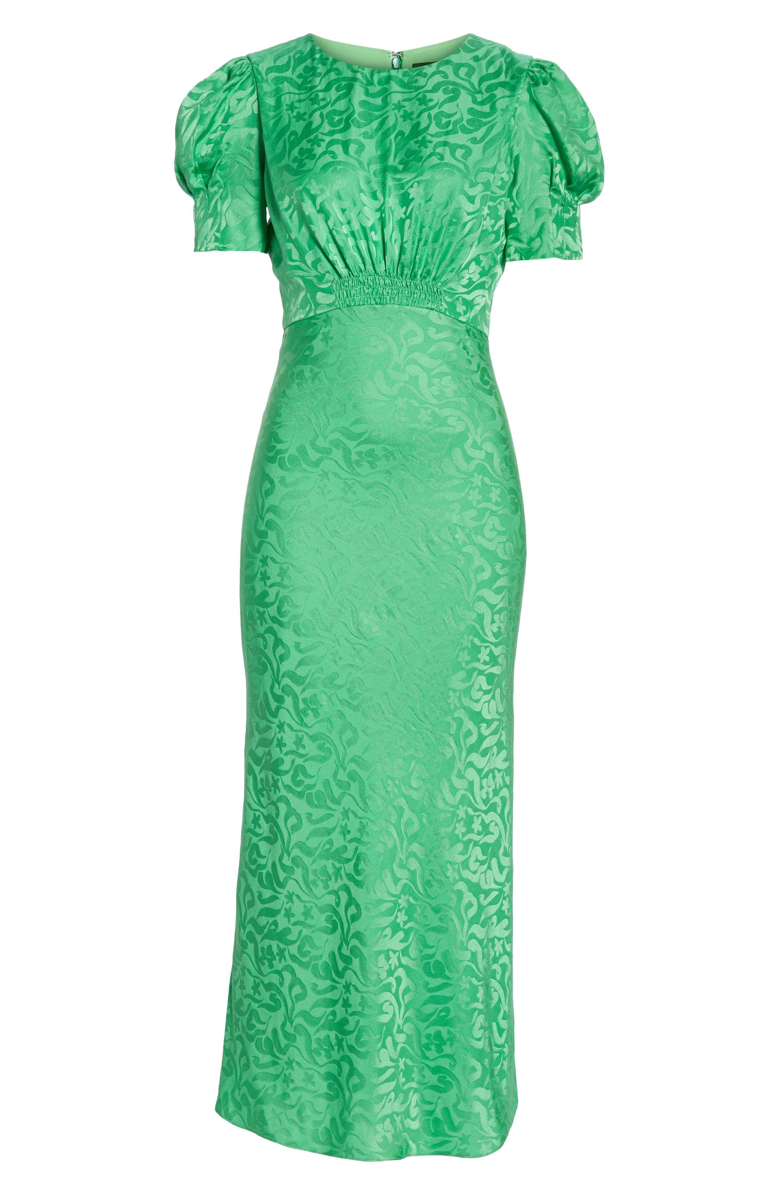 ,                             Bianca Puff Sleeve Silk Midi Dress,                             Alternate thumbnail 6, color,                             LEAF GREEN