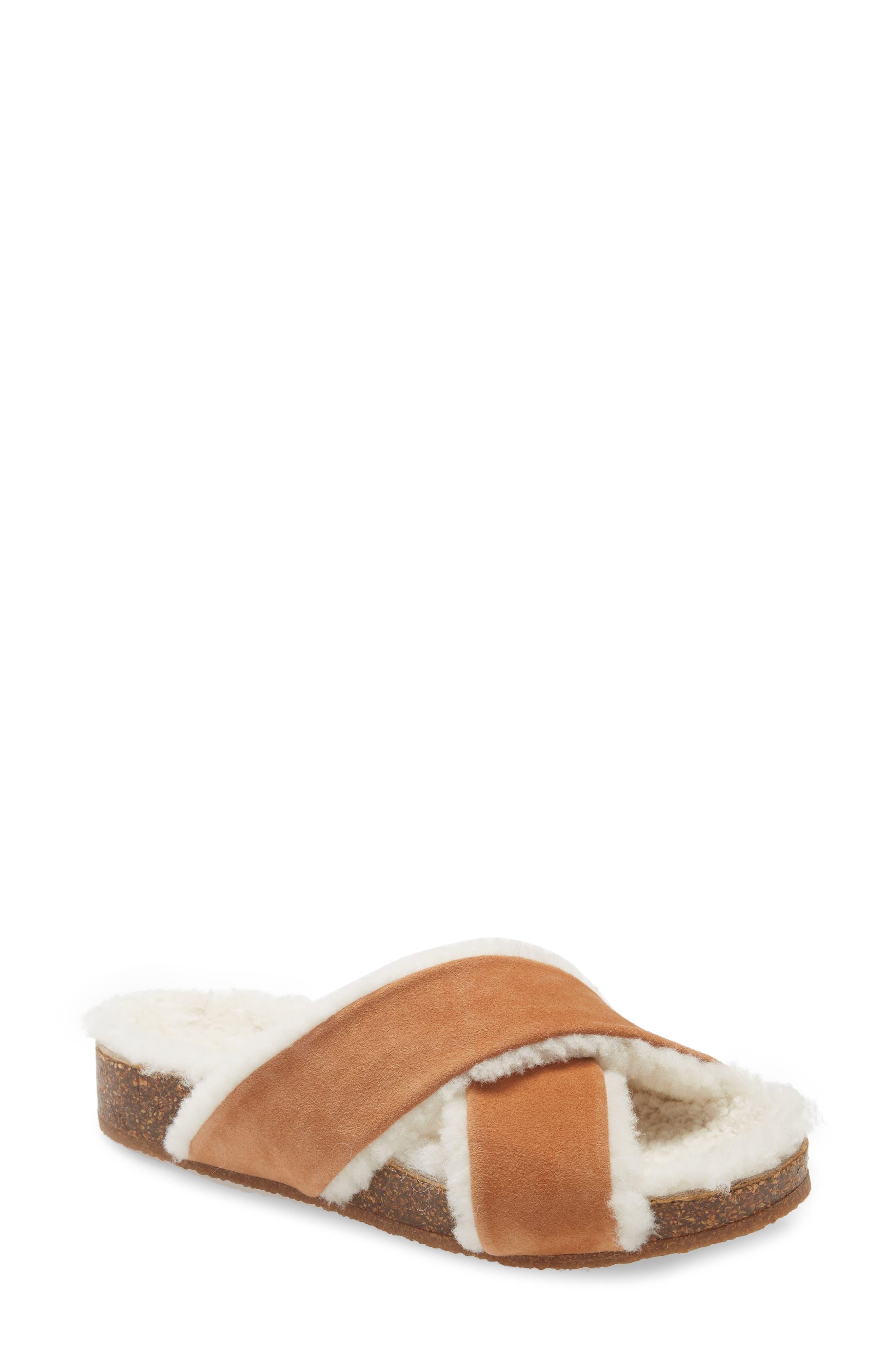 Genuine Shearling Lined Slide Sandal