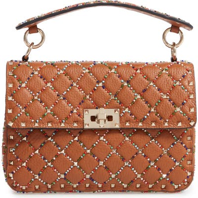 Valentino Garavani Medium Spike. it Beaded Calfskin Shoulder Bag - Brown