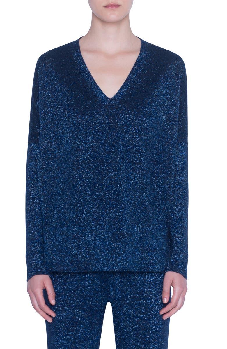 AKRIS PUNTO Metallic Wool Sweater, Main, color, NIGHT SKY
