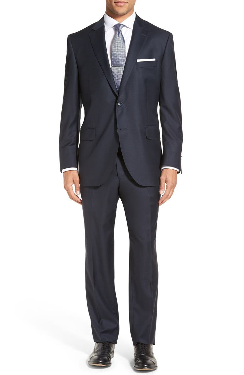PETER MILLAR Flynn Classic Fit Solid Wool Suit, Main, color, NAVY
