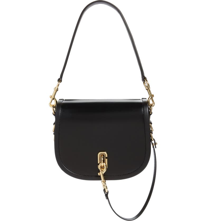 THE MARC JACOBS Leather Saddle Bag, Main, color, BLACK