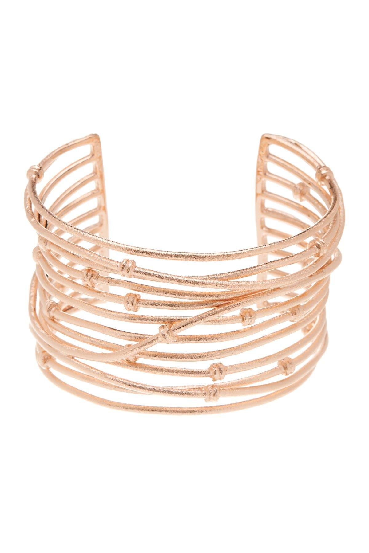 Image of Rivka Friedman 18K Rose Gold  Clad Bold Satin Mina Cuff Bracelet