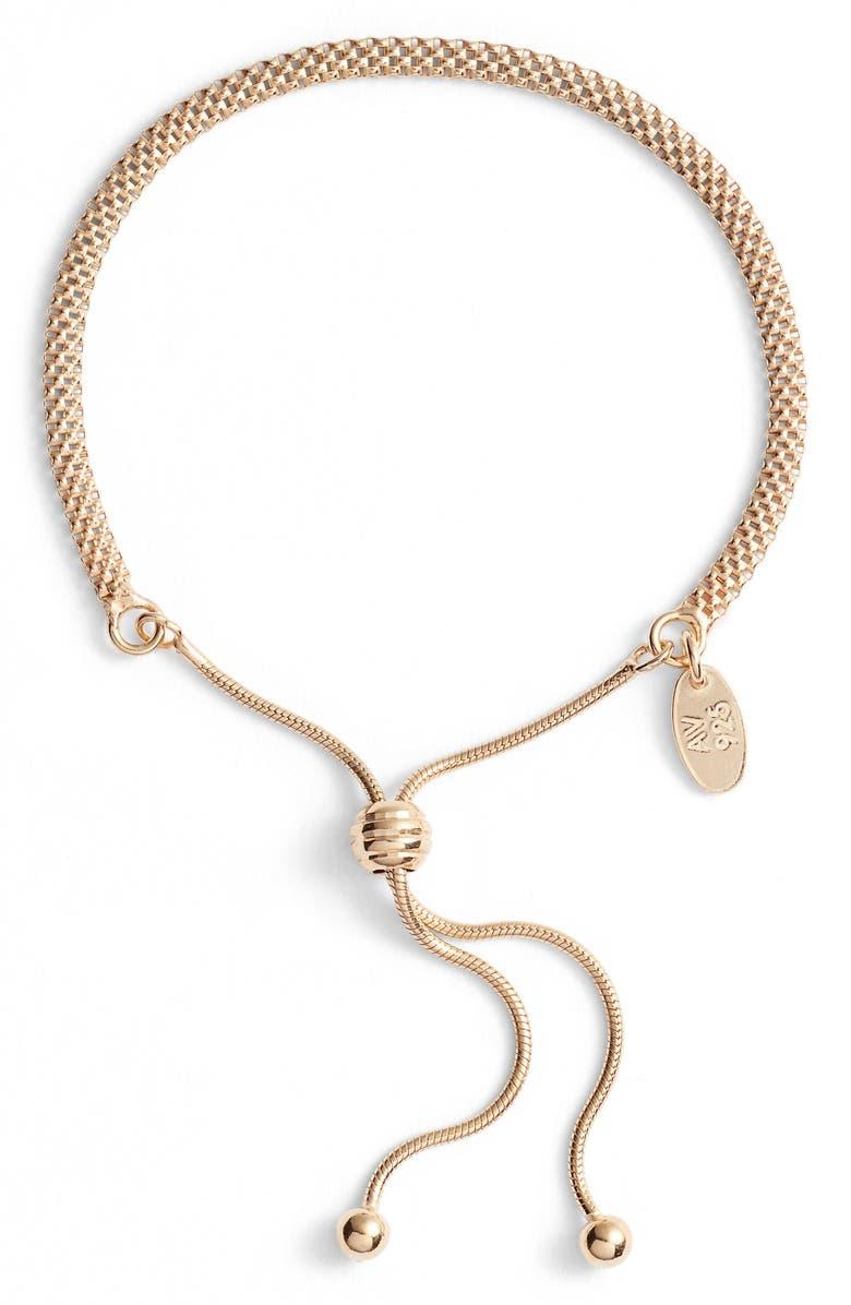 ARGENTO VIVO Mesh Slider Bracelet, Main, color, GOLD