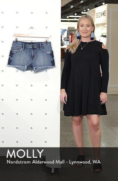 Fray Hem Star Print Denim Shorts, sales video thumbnail