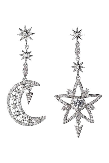 Image of Eye Candy Los Angeles Star and Moon CZ Crystal Drop Earrings