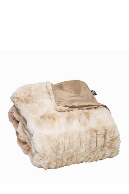 "Image of LUXE Faux Fur Throw - 50"" x 60"" - Cony Blonde Mink"