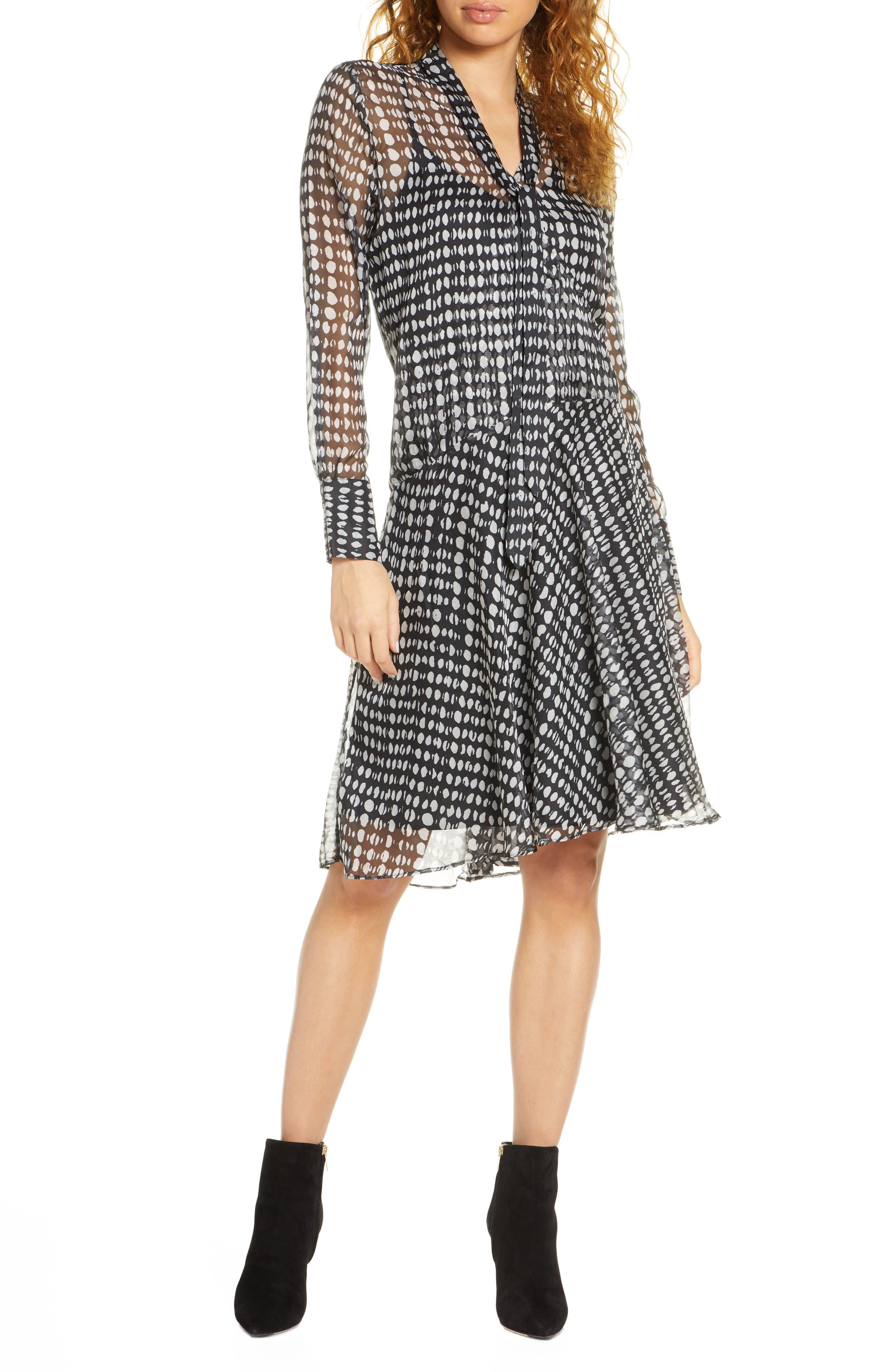 1920s Style Dresses, 20s Dresses Womens Caara Cosette Tie Neck Long Sleeve Chiffon Dress $103.80 AT vintagedancer.com