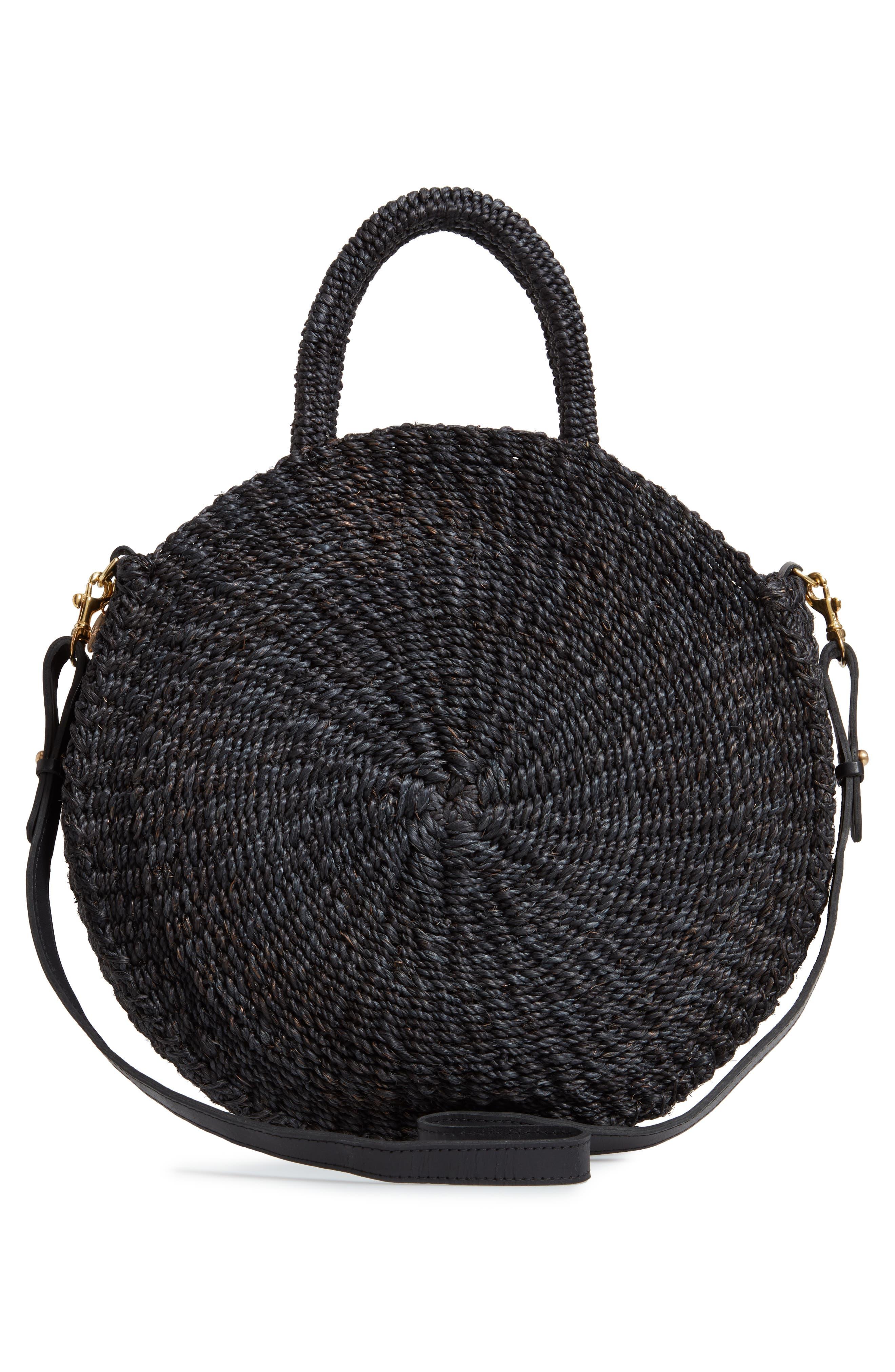 ,                             Alice Woven Sisal Straw Bag,                             Alternate thumbnail 3, color,                             BLACK