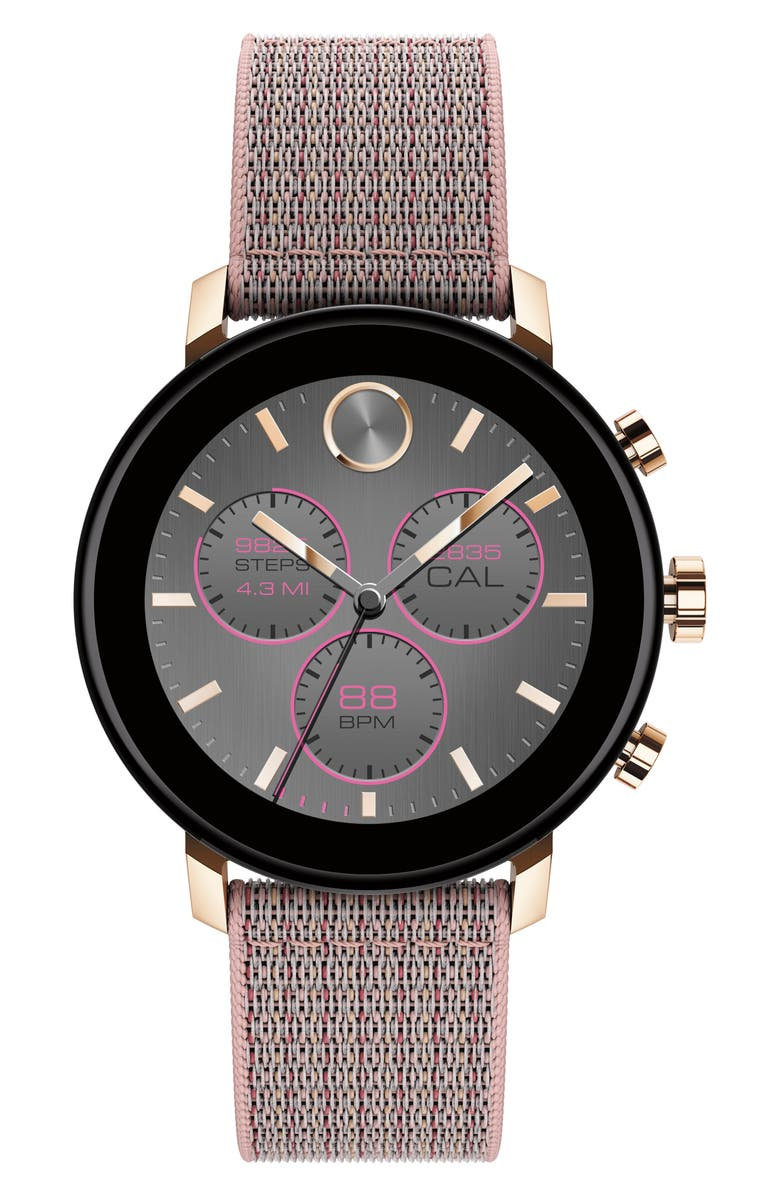 MOVADO Bold Connect 2.0 Chronograph Woven Strap Smart Watch, 40mm, Main, color, PINK SAND / CARNATION GOLD