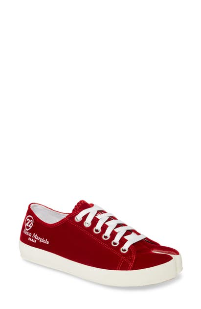 Maison Margiela Tabi Lace-Up Sneaker In Tomato Suede