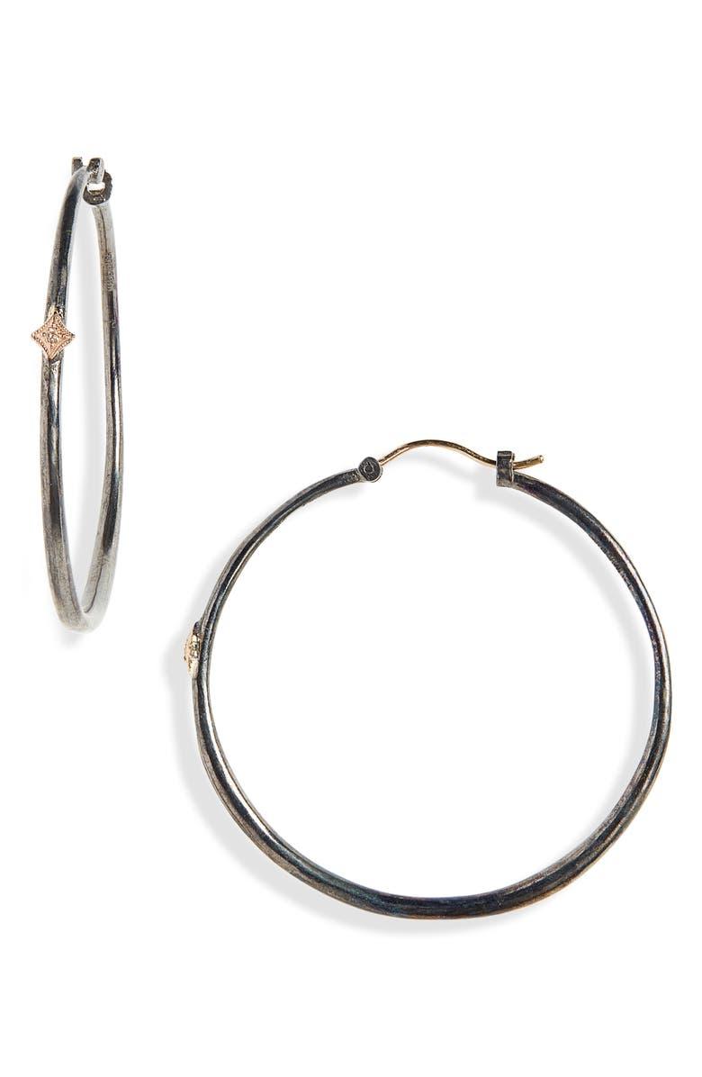 ARMENTA New World Crivelli Hoop Earrings, Main, color, GOLD/ BLACKENED SILVER