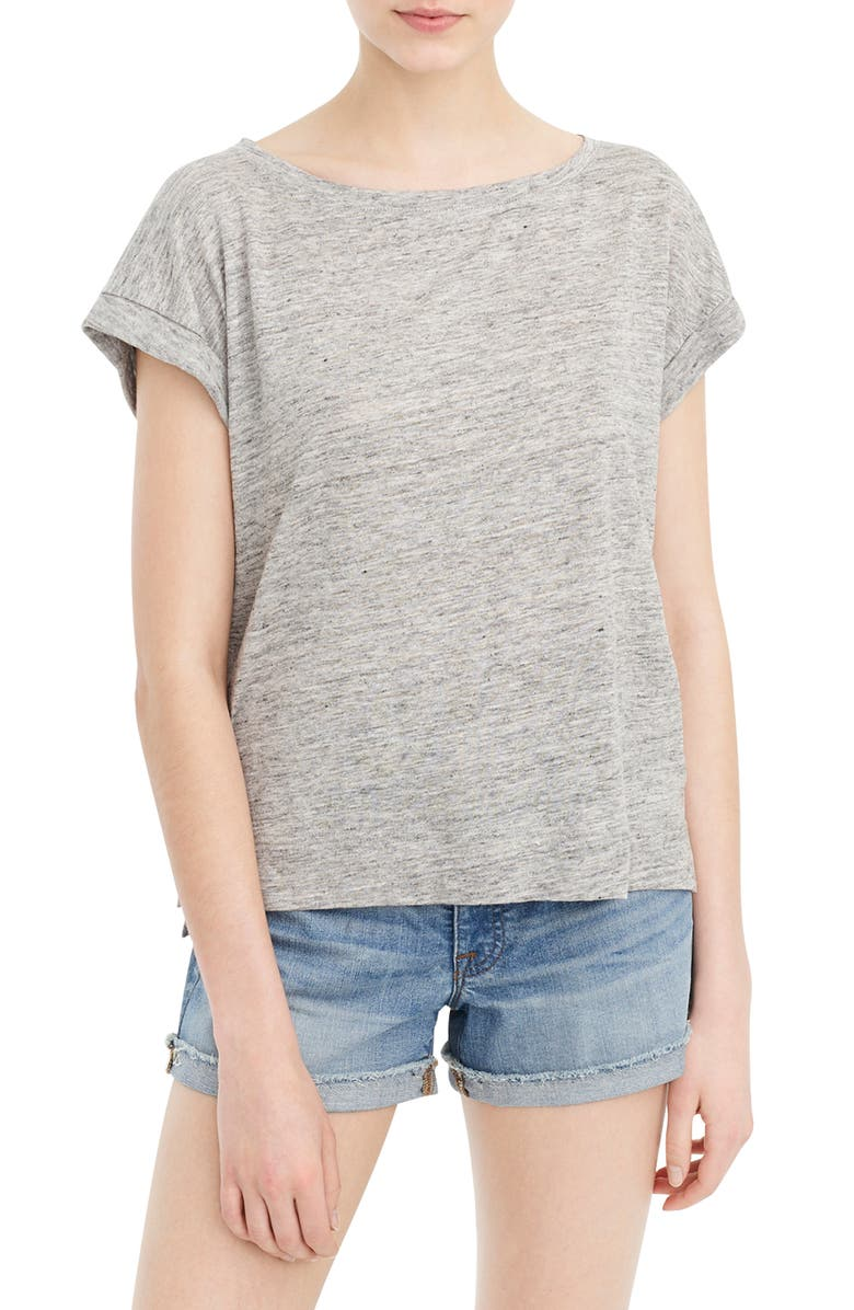 J.CREW Roll-Cuff Linen Tee, Main, color, HEATHER GREY