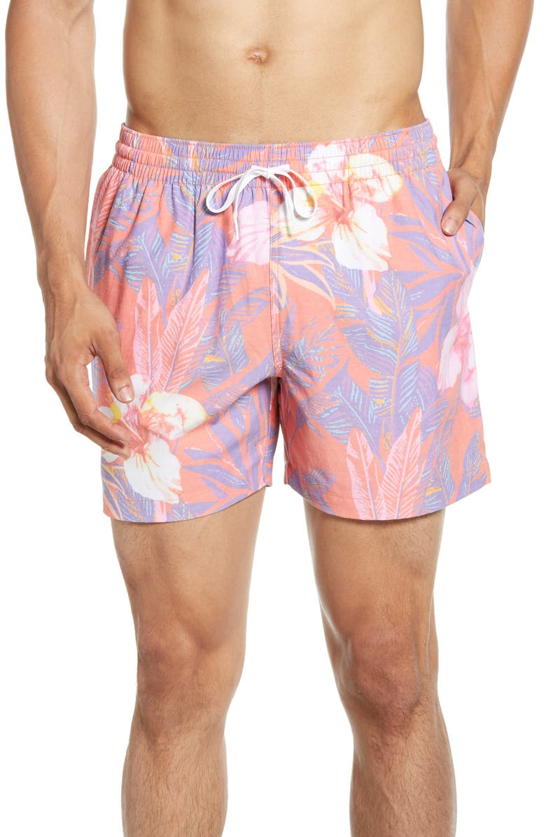 CHUBBIES The Nectars Swim Trunks, Main, color, FADED RED WITH FLOWERS
