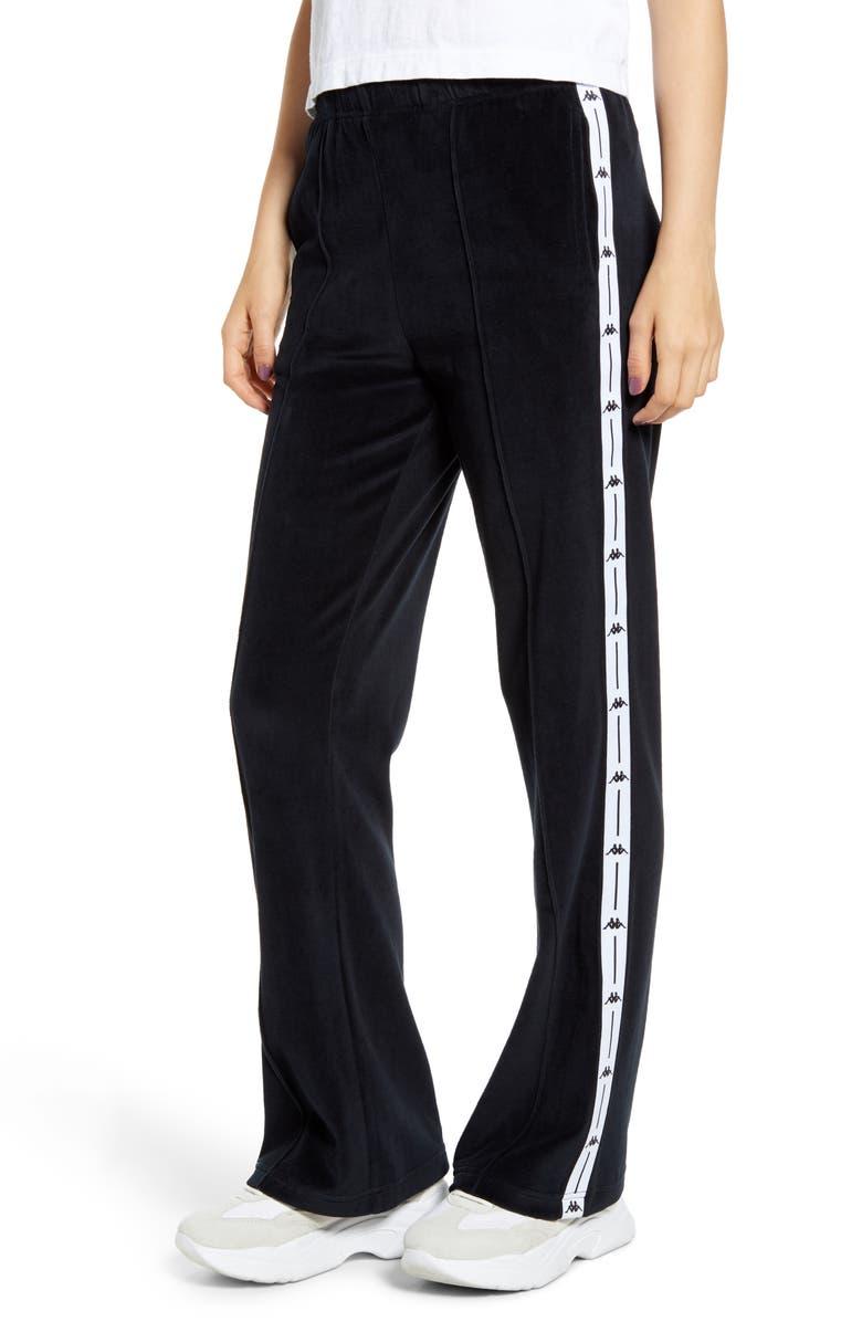 KAPPA Barav Velour Track Pants, Main, color, BLACK/ WHITE