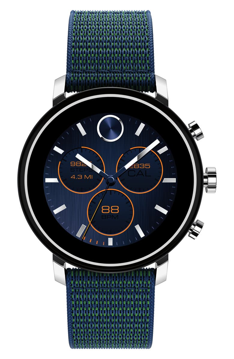 MOVADO Bold Connect Chronograph Woven Strap Smart Watch, 42mm, Main, color, NAVY/ SILVER