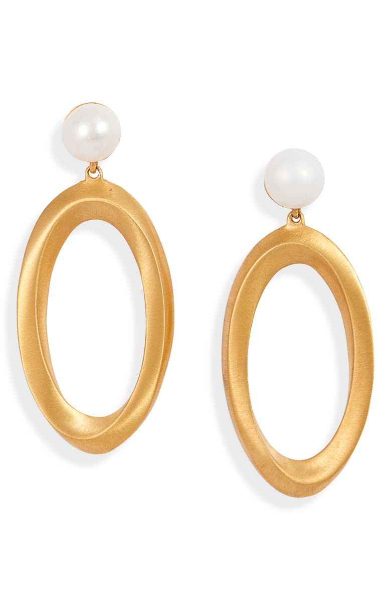 DEAN DAVIDSON Origami Infinity Drop Earrings, Main, color, PEARL/ GOLD