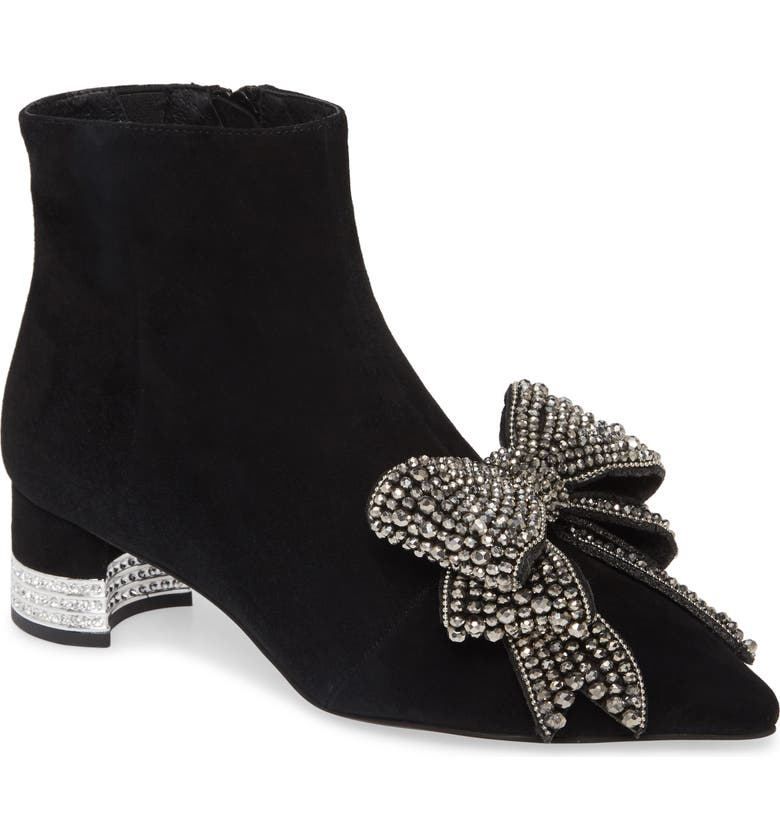 JEFFREY CAMPBELL Luci Embellished Bow Bootie, Main, color, BLACK SUEDE SILVER