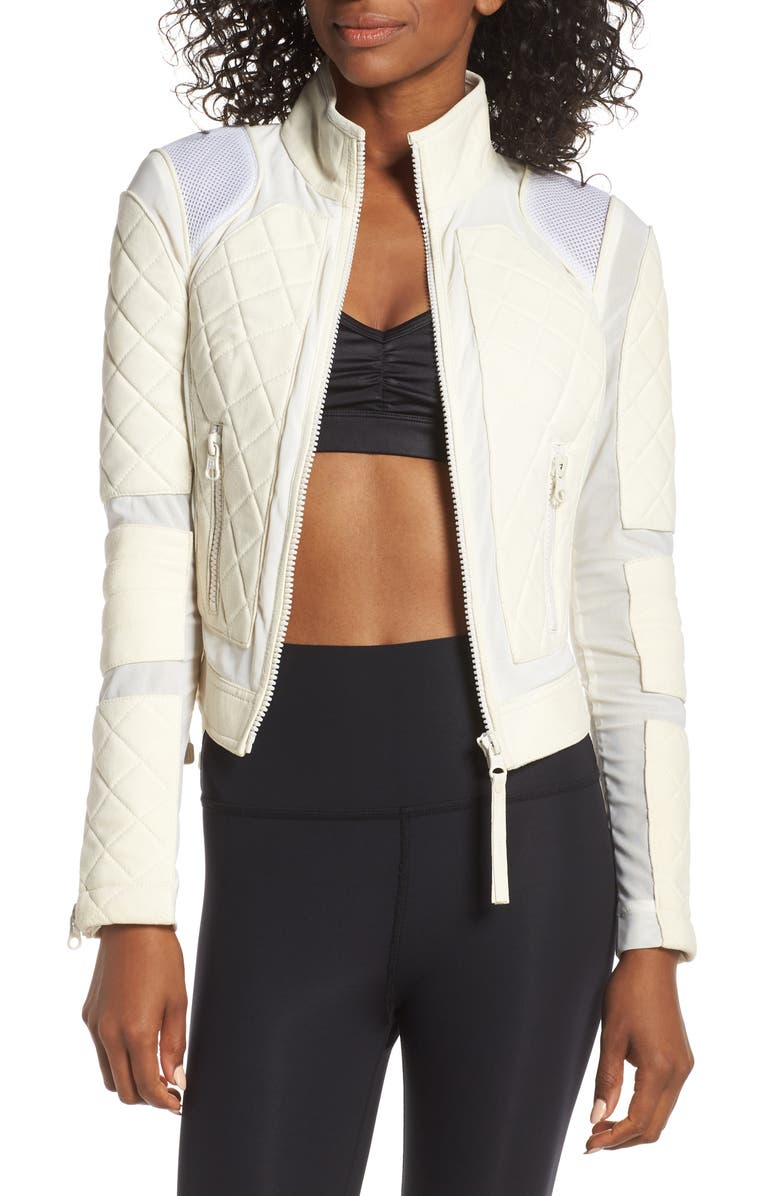 BLANC NOIR Suede & Mesh Moto Jacket, Main, color, BIANCO/ OFF WHITE