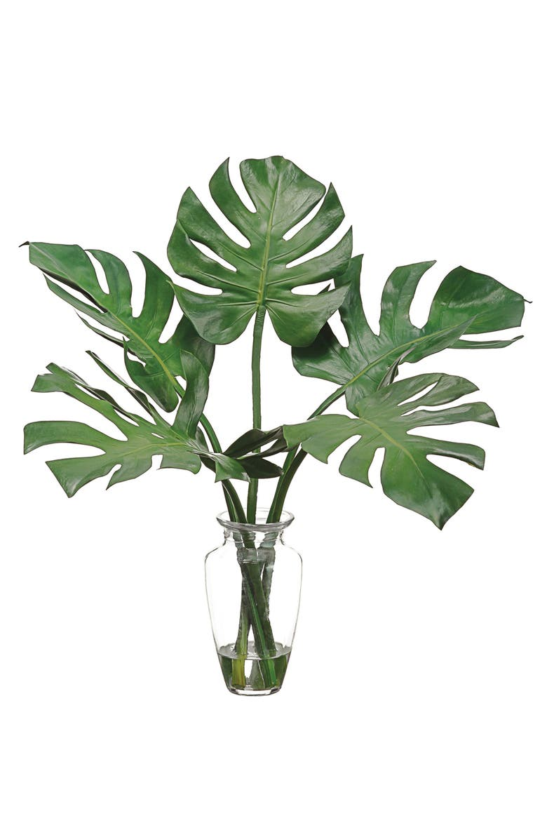 ALLSTATE Faux Monstera Leaves in Glass Vase, Main, color, 300